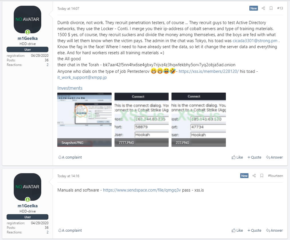 Недовольный участник «партнерской программы» вымогателя Conti слил в сеть руководства хак-группы